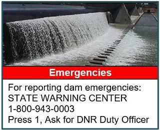 Report dam emergencies at 1-800-943-0003