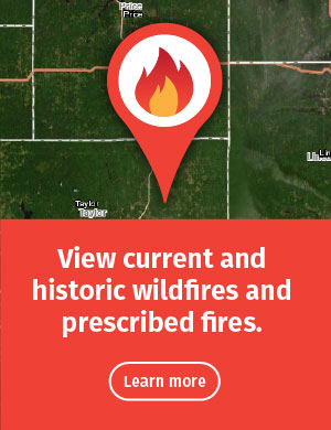 "A topographical map of Wisconsin with a pin icon superimposed. The top of the pin includes a flame icon. Text in this image reads, ""View current and historic wildfires and prescribed fires."""