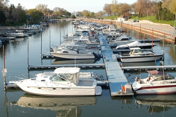 Pleasure and charter fishing boats lined up in Kenosha harbor.