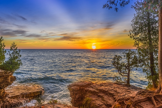 """Dawn at Cave Point"" by Michael Knapstein. Door County, WI."