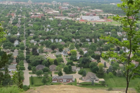 View of the City of La Crosse from the top of a nearby bluff