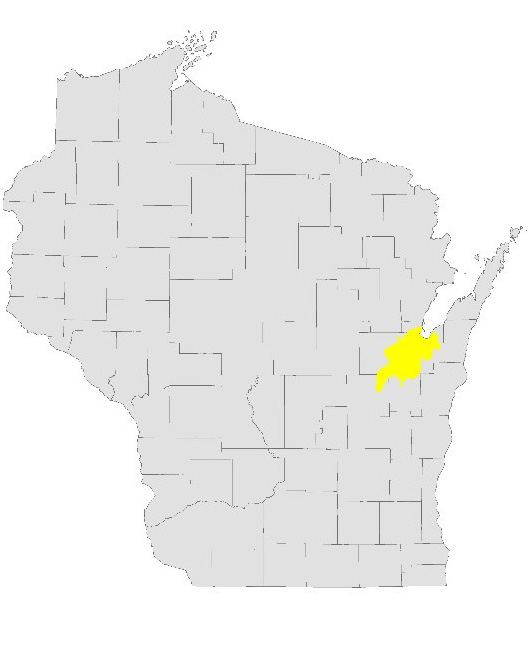 Wisconsin map showing the Lower Fox River basin.