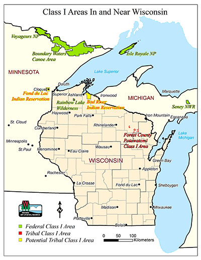 Map showing Class I Areas in Wisconsin