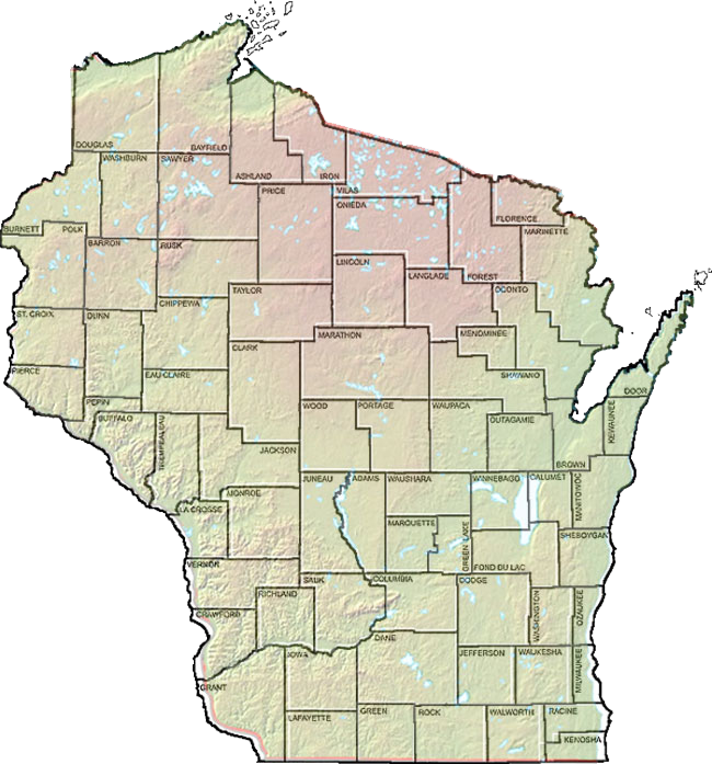 Wisconsin County Relief Map