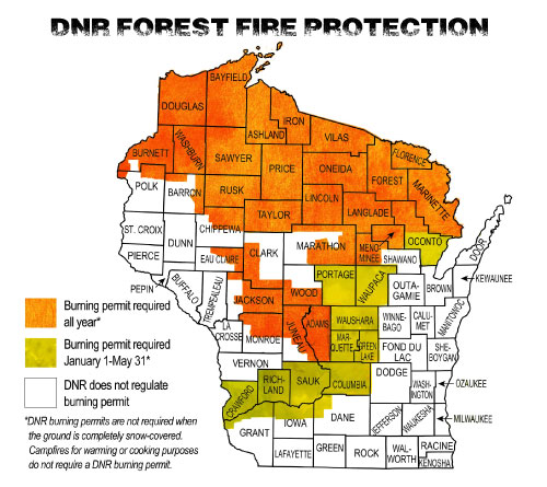 A map of Wisconsin showing where burn permits are required.