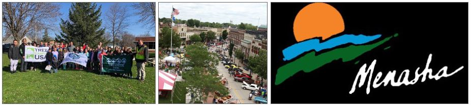 Three images: a group of people holding Tree City flags, a view of downtown Menasha, and the Menasha logo.