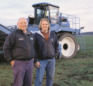 Steve Diercks, the Governor's Representative to the GCC,  and his son Andy on their farm in Coloma