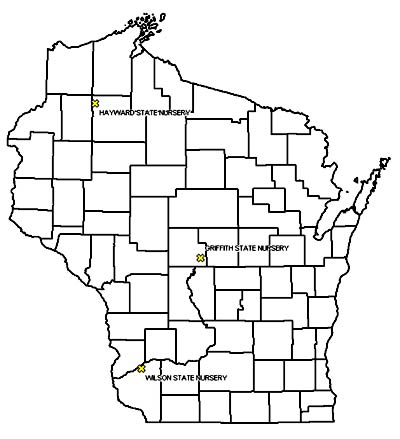 Map of Wisconsin showing nursery locations.