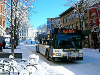 City bus on a snowy day